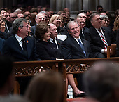 December 5, 2018 - Washington, DC, United States: Columba Bush, Jeb Bush, Laura Bush and George W. Bush attend the state funeral service of former President George W. Bush at the National Cathedral.  <br /> Credit: Chris Kleponis / Pool via CNP