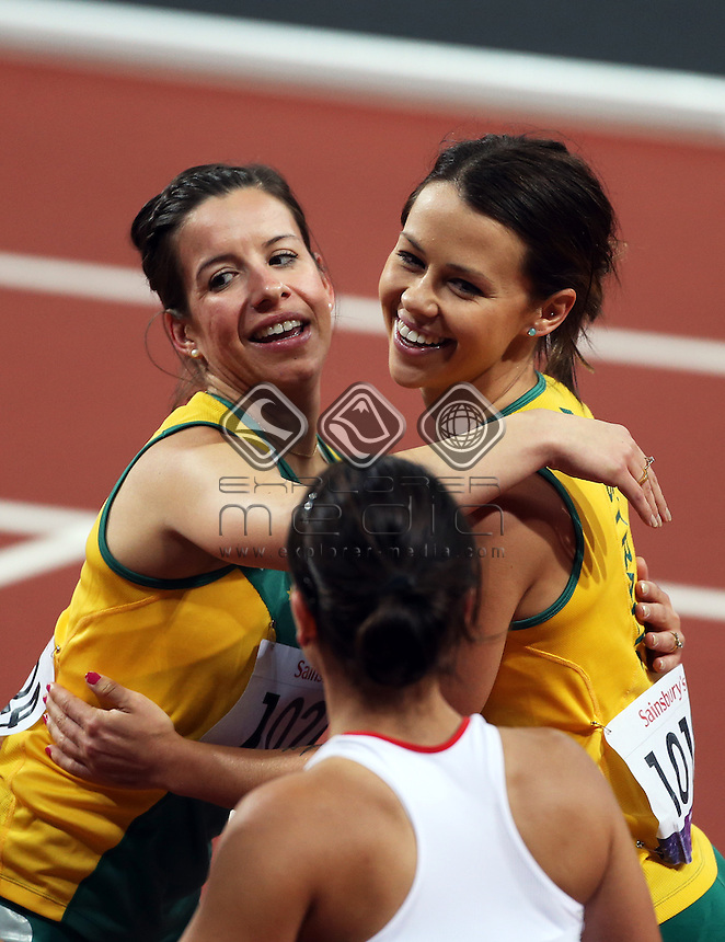 Kelly Cartwright (AUS), is congratulated by Michelle Errichiello (AUS), Women's 100m - T42 Final.<br /> Athletics, Olympic Stadium (Wednesday 5th Sept)<br /> Paralympics - Summer / London 2012<br /> London England 29 Aug - 9 Sept <br /> &copy; Sport the library/Joseph Johnson