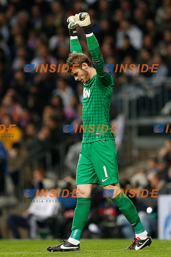Manchester United's David De Gea celebrates goal during Champions League 2012/2013 match.February 12,2013. (ALTERPHOTOS/Alfaqui/Cesar Cebolla) .Madrid 13/2/2013 Santiago Bernabeu.Football Calcio 2012/2013 Champions League.Real Madrid Vs Manchester United.Foto Alterphotos / Insidefoto .ITALY ONLY