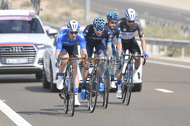 The breakaway featuring Igor Boev and Black Jersey Stepan Kuriyanov (RUS) of Gazpom-Rusvelo and Charles Planet (FRA) and Fabio Calabria (AUS) of Team Novo Nordisk during Stage 3 of the 2019 UAE Tour, running 179km form Al Ain to Jebel Hafeet, Abu Dhabi, United Arab Emirates. 26th February 2019.<br /> Picture: LaPresse/Fabio Ferrari | Cyclefile<br /> <br /> <br /> All photos usage must carry mandatory copyright credit (© Cyclefile | LaPresse/Fabio Ferrari)