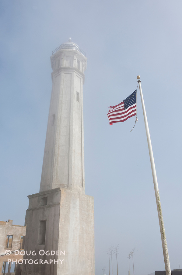 The lighthouse tower on Alcatraz Island, San Francisco Bay
