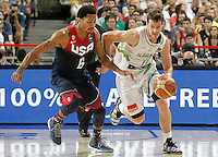 Slovenia's Goran Dragic (r) and USA's Derrick Rose during 2014 FIBA Basketball World Cup Quarter-Finals match.September 9,2014.(ALTERPHOTOS/Acero)