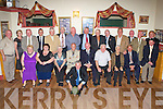 CHAMPIONS: The John Mitchels 1958 minor football championship winning side were honoured at a special event in Tralee on Saturday. Front, left-to-right: Mary Lynch, representing her late husband Denis Lynch, Margaret Powell, representing her late husband Redmond, Marie Clifford, representing her late brother Gus Williams, John 'Thorny' O'Shea, Andy Kerins, Toss Cournane, representing his late brother Joe Cournane, Breda Doyle, representing her late brother, selector, George Weir, and selector Paddy Fitzgibbon. Back row, left-to-right, Nicholas Kerins, Nora Mc Donnell, daughter of trainer Jaques McDonnell, Seamus Roche, Alan Conway representing his late father, Andy Conway, Donie Cantillon, Sean Ruske, James O'Brien, Johnny Kelliher, Roddy Day, Frank Neville, Donal Flynn, selector Richard O'Sullivan, Paddy O'Mahony and Liam Fitzgerald. On the floor with the football used in the match 50 years ago is Joe Mc Donnell, who was the mascot on the day, and is the son of the late, great Jaques McDonnell, trainer of many Mitchels minor teams.