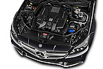 Car Stock 2016 Mercedes Benz CLS-Shooting-Brake 63-AMG-S 5 Door Wagon Engine  high angle detail view