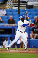 Dunedin Blue Jays center fielder D.J. Davis (6) at bat during a game against the Palm Beach Cardinals on April 15, 2016 at Florida Auto Exchange Stadium in Dunedin, Florida.  Dunedin defeated Palm Beach 8-7 in ten innings.  (Mike Janes/Four Seam Images)