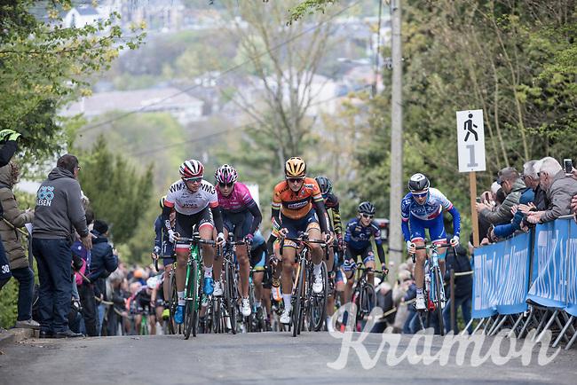 first passage of the women elite on the Mur de Huy<br /> <br /> La Fl&egrave;che Wallonne Feminine 2017 (1.WWT)<br /> One Day Race: Huy &rsaquo; Mur de Huy (120km)