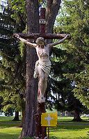 Jesus on the cross at the Shrine of Our Lady Of Martyrs in Auriesville New York dedicated to the memory of the Martyred Jesuits and the Indian Maiden Kateri Tewkwitha Lily of The Mohawks