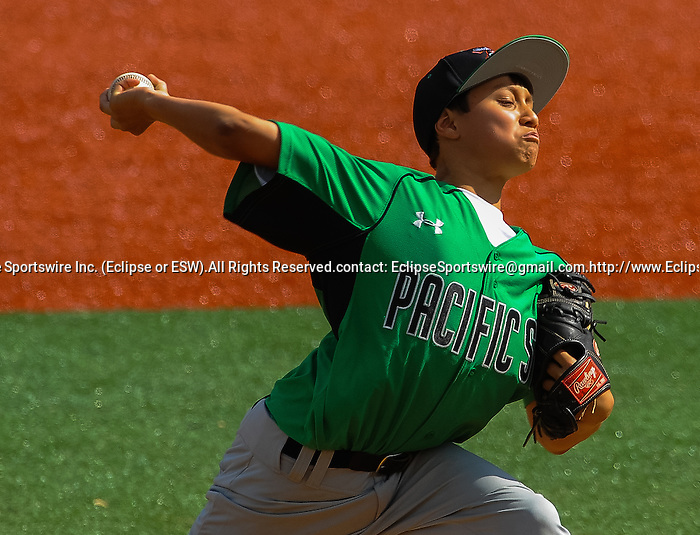 Mililani(HI)'s Ryne Aniya pitches during the Cal Ripken Babe Ruth World Series in Aberdeen, Maryland on August 12, 2012