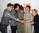"Joe Tippett, Alex Wolff, Isabelle Fuhrman, Erica Schmidt and Abigail Breslin attend the Opening Night of The New Group World Premiere of ""All The Fine Boys"" at the The Green Fig Urban Eatery on March 1, 2017 in New York City."