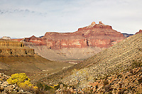 Angels Gate, seen from Cottonwood Canyon, below Horseshoe Mesa in the Grand Canyon.