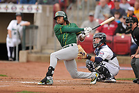 Beloit Snappers right fielder JaVon Shelby (5) in action during a game against the Cedar Rapids Kernels at Veterans Memorial Stadium on April 8, 2017 in Cedar Rapids, Iowa.  The Snappers won 7-6.  (Dennis Hubbard/Four Seam Images)