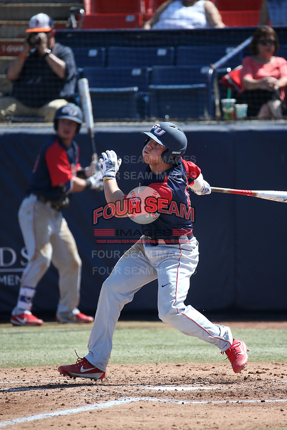 Jeff Bohling (17) of the Gonzaga Bulldogs bats against the Cal State Fullerton Titans at Goodwin Field on March 12, 2017 in Fullerton, California. Fullerton defeated Gonzaga, 3-2. (Larry Goren/Four Seam Images)