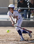 Western Nevada's Madison Gonzalez slaps a single in the first game of a doubleheader against Colorado Northwestern Community College in Carson City, Nev., on Friday, Feb. 22, 2013. WNC won the first game 4-2..Photo by Cathleen Allison/Nevada Photo Source
