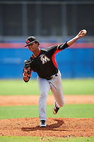 Miami Marlins pitcher Gabriel Baez (71) during an Instructional League game against the New York Mets on September 29, 2016 at the Port St. Lucie Training Complex in Port St. Lucie, Florida.  (Mike Janes/Four Seam Images)
