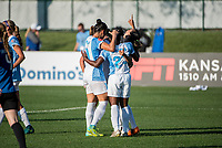 Kansas City, MO - Sunday May 07, 2017: Marta Vieira Da Silva, Jasmyne Spencer, Ali Krieger during a regular season National Women's Soccer League (NWSL) match between FC Kansas City and the Orlando Pride at Children's Mercy Victory Field.