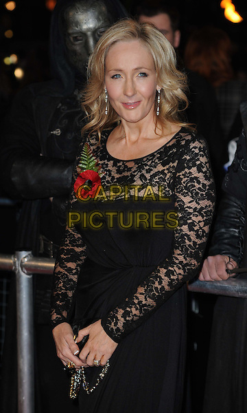 "JK ROWLING (Joanne ""Jo"" Murray OBE).""Harry Potter And The Deathly Hallows: Part 1""  World Film Premiere, .Empire cinema Leicester Square and Odeon Leicester Square, London, England, UK, 11th November 2010..half length black lace dress poppy long sleeve sheer see through thru J.K. author  .CAP/WIZ.© Wizard/Capital Pictures."