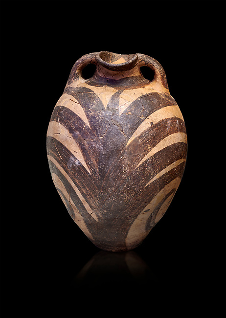 Minoan Kamares Ware amphora  jug with polychrome  palm leaf decorations , Phaistos 1900-1700 BC; Heraklion Archaeological  Museum, black background.<br /> <br /> This style of pottery is named afetr Kamares cave where this style of pottery was first found