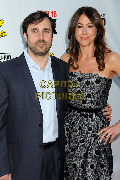 """JEFF SCHAFFER & JACKIE MARCUS SCHAFFER.""""It's Always Sunny in Philadelphia"""" Season Five and """"The League"""" Season One Premiere Screening Celebrating the Sept. 14th DVD/Blu-Ray Release held at The Cinerama Dome, Hollywood, California, USA, 14th September 2010..half length patterned  black strapless blue dress shirt lace .CAP/ADM/BP.©Byron Purvis/AdMedia/Capital Pictures."""