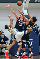 WASHINGTON, DC - JANUARY 29: Jameer Nelson Jr. #12 of George Washington clshes with Carter Collins #24 of Davidson during a game between Davidson and George Wshington at Charles E Smith Center on January 29, 2020 in Washington, DC.