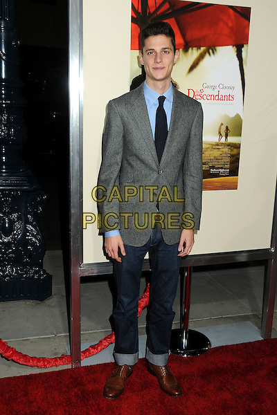 "Ken Baumann.""The Descendants"" Los Angeles Premiere held at the AMPAS Samuel Goldwyn Theater, Beverly Hills, California, USA, 15th November 2011..full length grey gray blue shirt suit tie jeans jacket .CAP/ADM/BP.©Byron Purvis/AdMedia/Capital Pictures."