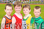 David Neeson Gneeveguilla, Cathal McLoughlan Blennerville, Eoin Fitzgerald Beaufort and Paul Linehan Churchill running at the Denny County Community Games in An Riocht Castleisland on Sunday         .