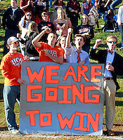 CHARLOTTESVILLE, VA- NOVEMBER 12:  Virginia Cavalier fans hold up a sign during the game against the Duke Blue Devils on November 12, 2011 at Scott Stadium in Charlottesville, Virginia. Virginia defeated Duke 31-21. (Photo by Andrew Shurtleff/Getty Images) *** Local Caption ***