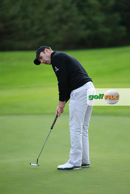 Colm Moriarty (Glassen Hotel &amp; G.C) on the 7th green during Round 2 of The Cassidy Golf 103rd Irish PGA Championship in Roganstown Golf Club on Friday 11th October 2013.<br /> Picture:  Thos Caffrey / www.golffile.ie