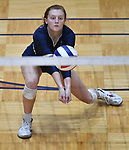 Althoff's Mia Orlet handles a Minooka serve. Althoff lost to Minooka in the championship game of the O'Fallon Class 4A volleyball sectional at O'Fallon HS in O'Fallon, IL on November 6, 2019.<br /> Tim Vizer/Special to STLhighschoolsports.com