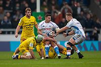 24th November 2019; AJ Bell Stadium, Salford, Lancashire, England; European Champions Cup Rugby, Sale Sharks versus La Rochelle; Rohan Janse van Rensburg of Sale Sharks is tackled - Editorial Use