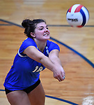 Columbia's Molly Mistler returns an Althoff serve in the second game. Althoff defeated Columbia in two games in volleyball action on Thursday August 23, 2018.<br /> Tim Vizer/Special to STLhighschoolsports.com