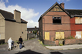 Empty and vandalised houses scheduled for demolition in the former pit village of Grimethorpe, South Yorkshire, which has undergone serious decline since its colliery closed in 1993.