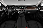 Stock photo of straight dashboard view of a 2018 Genesis G80 RWD 4 Door Sedan