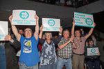 Brexit Party EU elections campaign launch at  The Neon in Newport, South Wales. Brexit Party supporters hold up their placards.