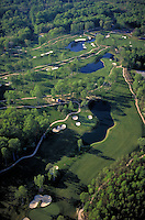 Aerial of the new Kingsmill golf course in April. Williamsburg, Virginia. Resorts, Recreation, Sports. Williamsburg VA USA Tidewater.