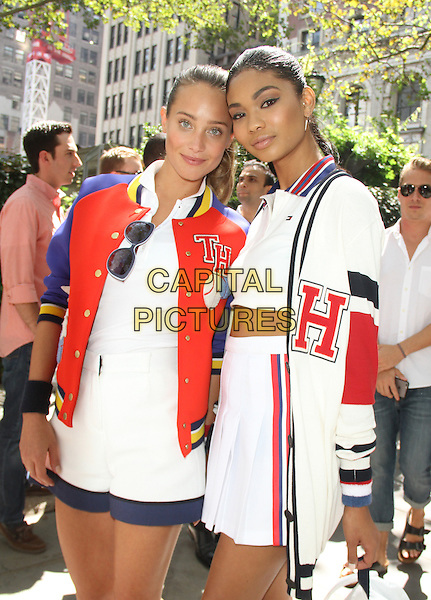 August 25, 2015: Hannah Davis, Chanel Iman at Tommy Hilfiger &amp; Rafael Nadal Launch Global Brand Ambassadorship at Bryant Park  in New York .<br /> CAP/MPI/RW<br /> &copy;RW/MPI/Capital Pictures