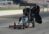 Sept. 3, 2011; Claremont, IN, USA: NHRA top fuel dragster driver David Grubnic during qualifying for the US Nationals at Lucas Oil Raceway. Mandatory Credit: Mark J. Rebilas-