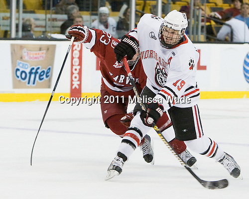 (McCollem) Wade MacLeod (Northeastern - 19) - The Northeastern University Huskies defeated the Harvard University Crimson 4-0 in their Beanpot opener on Monday, February 7, 2011, at TD Garden in Boston, Massachusetts.