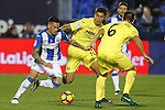 CD Leganes' Luciano Neves (l) and Villarreal CF's Rodri Hernandez (c) and Victor Ruiz during La Liga match. December 3,2016. (ALTERPHOTOS/Acero)