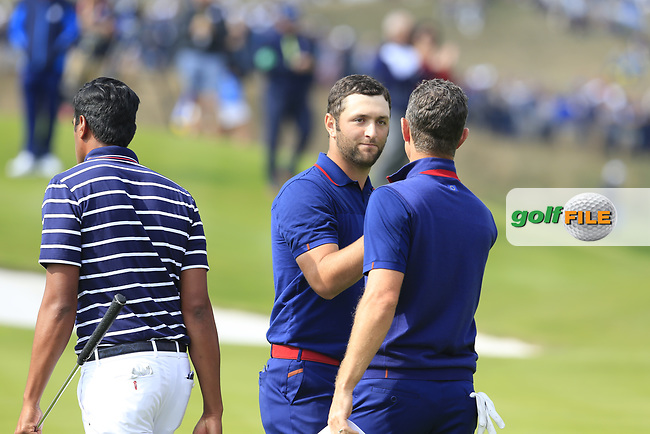 Justin Rose and Jon Rahm Team Europe lose the match 1 down on the 18th green during Friday's Fourball Matches at the 2018 Ryder Cup, Le Golf National, Iles-de-France, France. 28/09/2018.<br /> Picture Eoin Clarke / Golffile.ie<br /> <br /> All photo usage must carry mandatory copyright credit (© Golffile   Eoin Clarke)