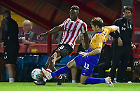 Lincoln City's Bernard Mensah is fouled by Mansfield Town's Will Atkinson<br /> <br /> Photographer Chris Vaughan/CameraSport<br /> <br /> The EFL Checkatrade Trophy Group H - Lincoln City v Mansfield Town - Tuesday September 4th 2018 - Sincil Bank - Lincoln<br />  <br /> World Copyright © 2018 CameraSport. All rights reserved. 43 Linden Ave. Countesthorpe. Leicester. England. LE8 5PG - Tel: +44 (0) 116 277 4147 - admin@camerasport.com - www.camerasport.com