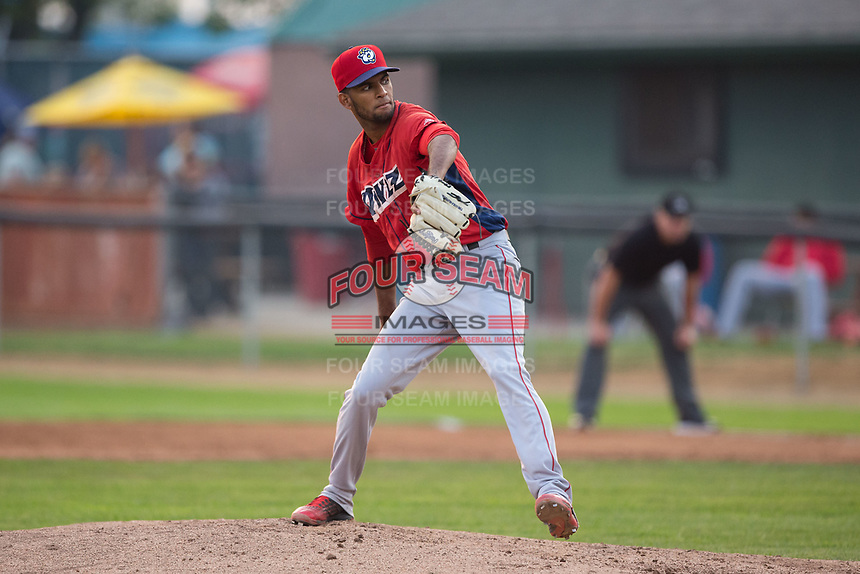 Orem Owlz relief pitcher Christopher Molina (20) in action against the Helena Brewers at Kindrick Legion Field on August 17, 2017 in Helena, Montana.  The Owlz defeated the Brewers 5-2.  (Brian Westerholt/Four Seam Images)