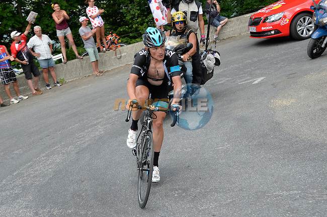 Vasil Kiryienka (BEL) Team Sky breaks away on the Col de Val Louron-Azet in the Pyrenees during Stage 17 of the 2014 Tour de France running 124.5km from Saint-Gaudens to Saint-Lary Pla d'Adet. 23rd July 2014.<br /> Photo ASO/B.Bade/www.newsfile.ie