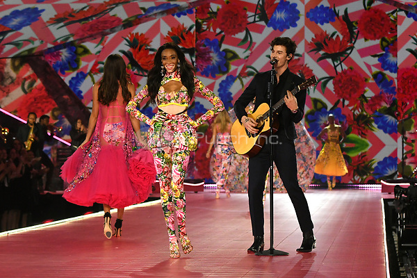 NEW YORK, NY - NOVEMBER 08: Winnie Harlow and Sean Mendes at the 2018 Victoria's Secret Fashion Show at Pier 94 on November 8, 2018 in New York City. Credit: John Palmer/MediaPunch