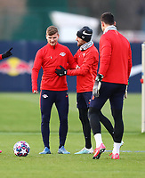 9th March 2020, Red Bull Arena, Leipzig, Germany; RB Leipzig press confefence and training ahead of their Champions League match versus Tottenham Hotspur on 10th March 2020; Timo Werner 11, Kevin Kampl 44 and Torwart Philipp Tschauner 33, RB Leipzig