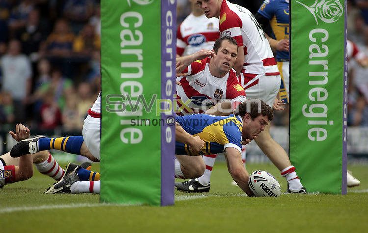 Pix: Ben Duffy/SWpix.com. Rugby League Carnegie Challenge Cup, Leeds Rhinos v Wigan Warriors....31/05/2008...copyright picture>>simon wilkinson>>07811 267 706>>..Leed's Matt Diskin goes over for a try