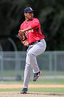 Boston Red Sox pitcher Edgar Garcia #48 during an Instructional League game against the Baltimore Orioles at Buck O'Neil Complex in Sarasota, Florida;  October 6, 2011.  (Mike Janes/Four Seam Images)