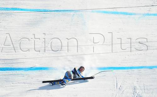 Anja Paerson of Sweden crashes at Women's Downhill race at the Vancouver 2010 Olympic Games on 17 February 2010 in Whistler, Canada. Photo: Peter Kneffel /Actionplus. Editorial UK Licenses Only
