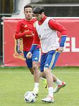 Spain's Alvaro Morata (r) and Thiago Alcantara during preparing training stage to Euro 2016. May 30,2016.(ALTERPHOTOS/Acero)