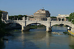 Castel Sant Angelo in the Vatican district of Rome.The bridge over the River Tiber in the foreground is the Ponte Vittorio Emanuele II.