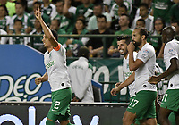 PALMIRA - COLOMBIA, 26-05-2019: Daniel Bocanegra del Nacional celebra después de anotar el primer gol de su equipo durante partido entre Deportivo Cali y Atlético Nacional por la fecha 4, cuadrangulares semifinales, de la Liga Águila I 2019 jugado en el estadio Deportivo Cali de la ciudad de Palmira. / Daniel Bocanegra player of Nacional celebrates after scoring the first goal of his team during match between Deportivo Cali and Atletico Nacional for the date 4, semifinal quadrangulars, as part Aguila League I 2019 played at Deportivo Cali stadium in Palmira city .  Photo: VizzorImage / Gabriel Aponte / Staff